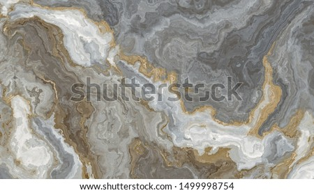 Gray-white marble pattern, with golden veins. Abstract texture and background. 2D illustration