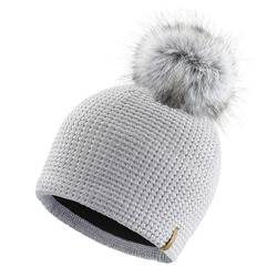 Gray Wool Knit Ski Hat with Faux Fur Pompom Isolated on White. Knit Cap Folded Brim. Tuque or Toque Outdoors Headgear. Bobble Hat Topped with Pom Pom or Loose Tassels. Knitted Warm Hat