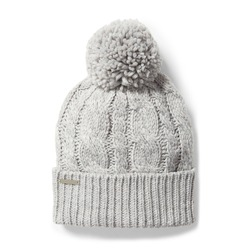Gray Wool Knit Ski Hat with Faux Fur Pompom Isolated on White. Tuque or Toque Outdoors Headgear. Bobble Hat Topped with Pom Pom or Loose Tassels. Knit Cap Folded Brim. Knitted Warm Hat