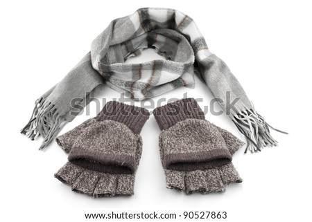 Gray woolen knitted gloves and scarf isolated on white
