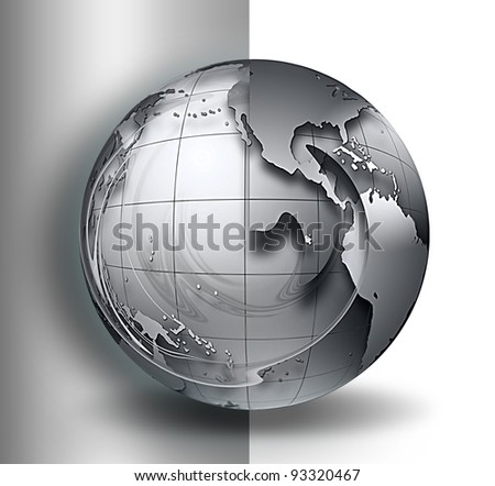 gray world in a wave on a white background