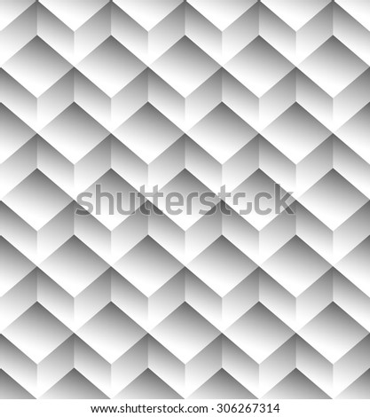 Grayscale, monochrome seamless pattern, background with 3d cubes stock photo