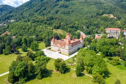 Graz, Austria. Eggenberg Palace (Schloss Eggenberg) - the largest aristocratic residence in Styria is listed as a World Heritage Site. Construction was completed by 1646, Aerial View