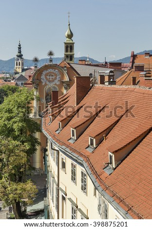 Graz downtown autumn aerial cityscape with Dreifaltigkeitskirche Church. Graz is the capital of federal state of Styria in Austria. #398875201