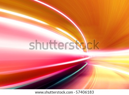 Greased light on high-speed highway of night city #57406183