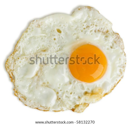 Greasy fried egg on white background