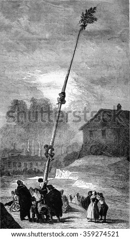 Greasy pole, painting by Goya, the palace of the Alameda, near Madrid, belonging to the Duke of Osuna, vintage engraved illustration. Magasin Pittoresque 1880.