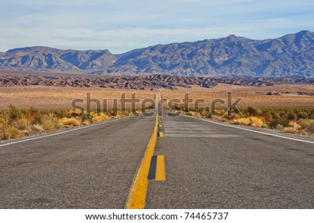 Great American road, crossing a huge Death Valley in California.