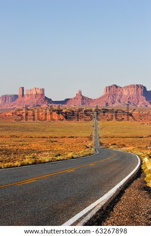 Great American road. Monument Valley in the red desert