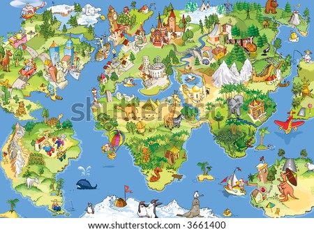 Great and Funny Cartoon World Map. All Sightseeings in all Continents. Illustration for Kids.