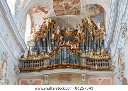 Great baroque church organ in Ochsenhausen, Germany.