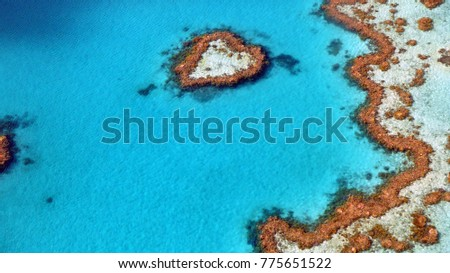 Great Barrier reef at Whitsunday Islands, heart reef, Australia, 2016, aerial view #775651522