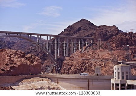 Great Basin Highway Above Hoover Dam - Hoover Dam Bypass Bridge. Arizona and Nevada Border, USA.