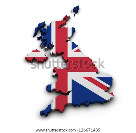 Great Britain Background Shape 3d United Kingdom Map