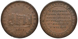 Great Britain British copper token 1 one penny 1811, Conder Token (or 18th Century Provincial Token) issued in Newark in Nottinghamshire, castle in center, points of payment,