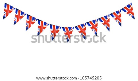 Great Britain British Flag pennants buntings isolated on white background with room for your text #105745205