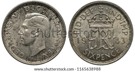 Great Britain British silver coin 6 six pence 1943, WWII issue, head of King George VI left, crowned monogram divides date,