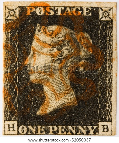GREAT BRITAIN - CIRCA 1840: A Penny Black, the world's first self-adhesive, pre-paid postage stamp with a red Maltese Cross postmark, Great Britain, circa 1840.