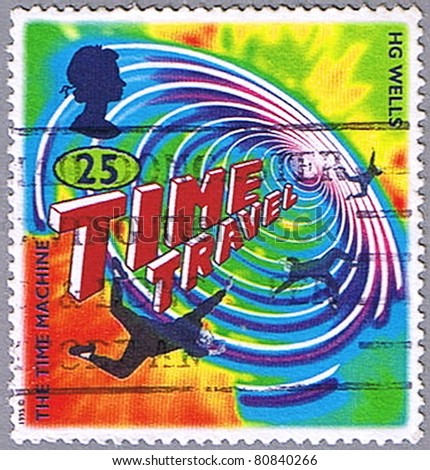 GREAT BRITAIN - CIRCA 1995: A stamp printed in Great Britain shows an illustration of the novel by H.G. Wells \'The Time Machine\', series, circa 1995