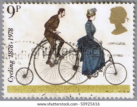 GREAT BRITAIN - CIRCA 1978: A stamp printed in Great Britain shows bicycle penny-farting, series devoted to the centennial of bicycle, circa 1978