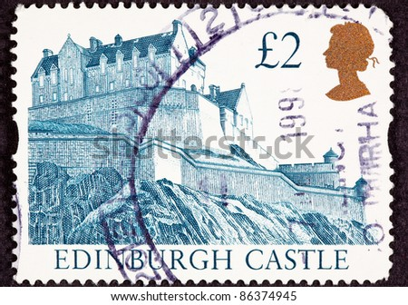 GREAT BRITAIN - CIRCA 1988:  A stamp printed in Great Britain shows Edinburgh Castle in Scotland on top of a hill, circa 1988.