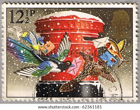 GREAT BRITAIN - CIRCA 1983: A stamp printed in Great Britain shows the birds that spread the postcards, series is devoted to Christmas, circa 1983