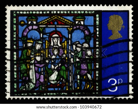 GREAT BRITAIN - CIRCA 1971: A stamp printed in the Great Britain shows Adoration of the Kings, from Stained Glass Windows, Canterbury Cathedral, circa 1971.