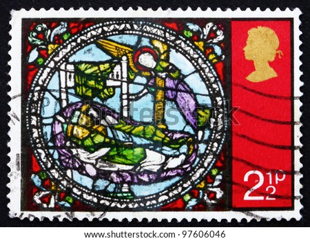 GREAT BRITAIN - CIRCA 1971: A stamp printed in the Great Britain shows Dream of the Kings, from Stained Glass Windows, Canterbury Cathedral, circa 1971