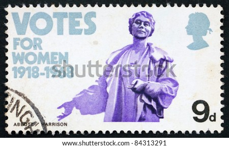 GREAT BRITAIN - CIRCA 1968: a stamp printed in the Great Britain shows Emmeline Pankhurst statue, 50th anniversary of womens suffrage, circa 1968