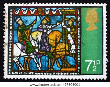 GREAT BRITAIN - CIRCA 1971: A stamp printed in the Great Britain shows Journey of the Kings, from Stained Glass Windows, Canterbury Cathedral, circa 1971