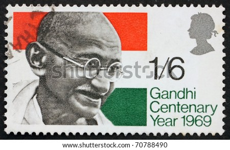 GREAT BRITAIN - CIRCA 1969: a stamp printed in the Great Britain shows Mahatma Gandhi and flag of India, circa 1969
