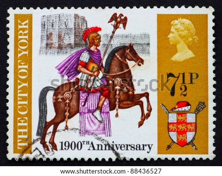 GREAT BRITAIN - CIRCA 1971: a stamp printed in the Great Britain shows Roman centurion on horseback, York Castle and coat of arms, 1900th anniversary of the founding of York, circa 1971