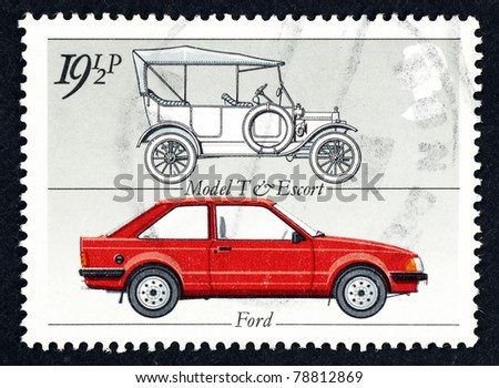 GREAT BRITAIN - CIRCA 1982: Stamp printed in Great Britain showing the ford motor vehicle model T and the model Ford Escort MkIII, circa 1982.