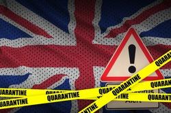 Great britain flag and Covid-19 quarantine yellow tape. Coronavirus or 2019-nCov virus