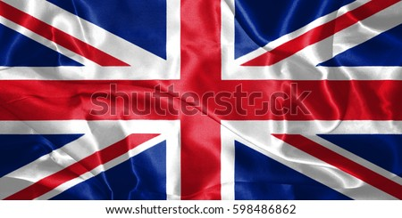 Great Britain Flag Blown in the Wind 3D illustration #598486862