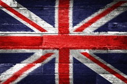 Great britain flag painted on old wood background