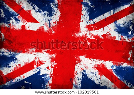 Great Britain flag. Union Jack or United Kingdom flag in grunge technique.