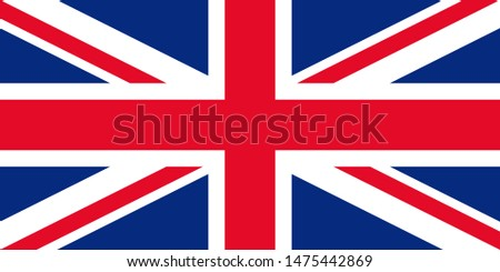 Great Britain flag. United kingdom UK official state sign. National flag of England with Union Jack. Colorful blue red colors illustration. Isolated icon.