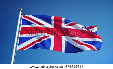 Great britain flag waving against clean blue sky, close up, isolated with clipping path mask alpha channel transparency ストックフォト ©