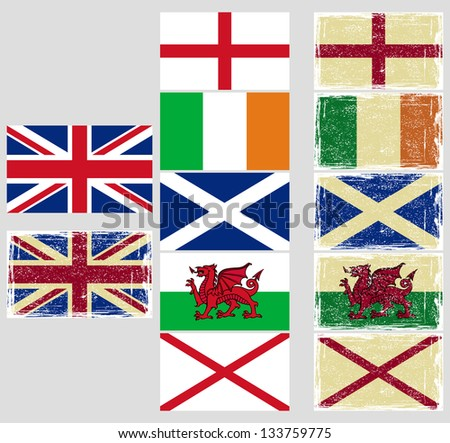 Great Britain flags. Raster version, vector file available in portfolio.