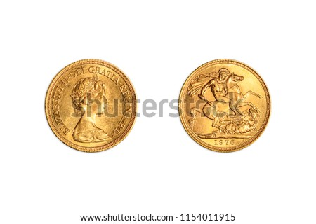 Great Britain, one gold coin of UK pound, GBP English currency, close up of double sides of Queen Elizabeth II sterling of 1976. Isolated on white studio background.