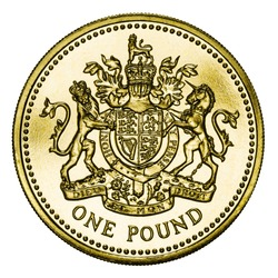 Great Britain One Pound Coin Isolated on White With Clipping Path