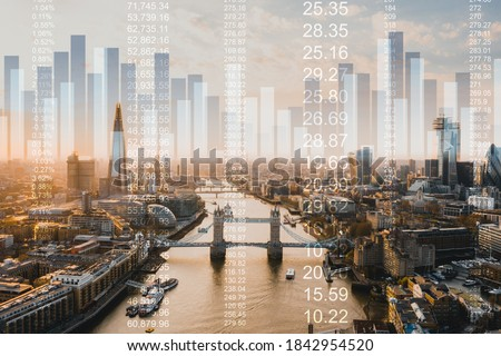 Great Britain stock market graphic background wtih financial market trade chart