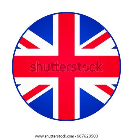 Great Britain, United Kingdom flag. Round shape