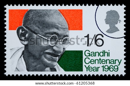 GREAT BRITTAN - CIRCA 1969: A postage stamp printed in Great Brittan showing Mohandas Karamchand Gandhi, circa 1969