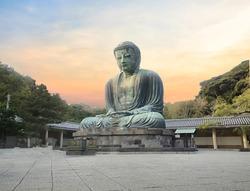 Great Buddha of Kamakura or Kamakura Daibutsu is a large bronze statue of Amida Buddha sits on white background