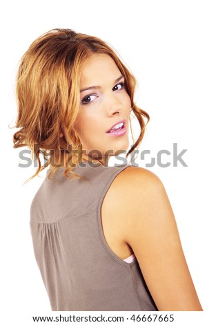 Great casual day make up of blond beautiful girl looking over the shoulder isolated on white background