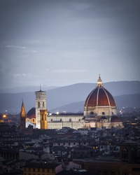 Great cathedral of Florence, Santa Maria Del Fiore or Florence Cathedral, in Florence, Tuscany, Italy.