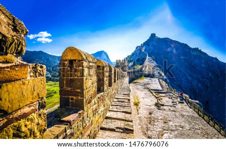 Great China Wall landscape view. View from Great China Wall. Great China Wall pathway. Great China Wall landscape