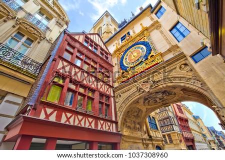 Great-clock street Rouen, France #1037308960